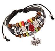 Z&X®  Punk Fashion Beads Combination Handmade Sun Flower Pendant Leather Strand Bracelets
