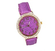 Women's Round Dial PU Band Analog Quartz Wrist Watch Assorted Colors