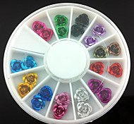 24PCS Colorful Metal Flower Nail Art Decorations
