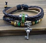 Z&X®  Punk Fashion Multilayer Key Pendant Leather Rope Strand Bracelets
