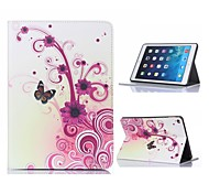 Flower and Butterfly Design Leather Case with Stand for iPad Air 2