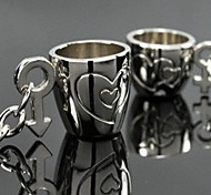 Couples Love Cup Metal Silver Keychain(Silver)(Pair)