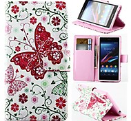 Wallet Style Pink Butterfly PU Leather Full Body Cover with Stand for Sony Xperia Z1 L39H