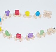 Kid's Fun Number Wood Building Block Train Toy  Multicolored