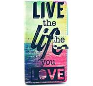 vivere la vita che ami modello copertura del cuoio dell'unità di elaborazione con il basamento e il supporto di carta per Nokia Lumia