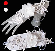 Wrist Length Fingerless Glove Tulle Bridal Gloves