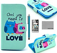 COCO FUN® Fall in Love Owl Pattern PU Leather Case with Screen Protector, Stylus and Stand for HTC Desire 500