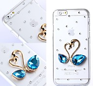 DIY Heart with Blue Rhinestones Pattern Plastic Hard Cover for iPhone 6