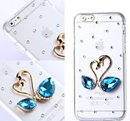 diy Herz mit blauen Strasssteinen Muster harte Plastikabdeckung für iphone 6