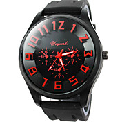 estilo militar relógio banda caixa preta de silicone de pulso de quartzo dos homens (assortedcolors)