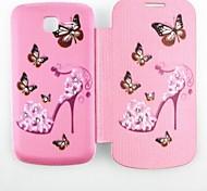 Butterfly Heels Pattern Zircon Inlaid Flip Folio Case for Samsung 7392