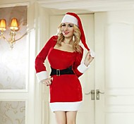 Long Sleeves Waist Dress Red Adult Christmas Woman's Costume