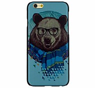 Bear with Glasses Pattern PC Hard Back Cover Case for iPhone 6