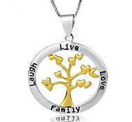 I FREE®Women's S925 Sterling Silver Acacia Tree Shape with Box Chain Pendant Necklace 1 pc