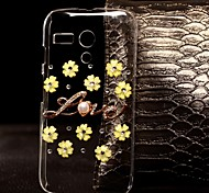 DIY Yellow Flowers with Rhinestones Pattern Plastic Hard Case for Motorola MOTO G