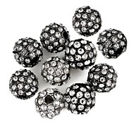 Spherical-Shaped Alloy Spacer Beads Full of Rhinestone Accessories Black (10Pcs)