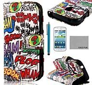 funda de piel de coco patrón de graffiti auge Fun® pu con protector de pantalla y el stylus para samsung dúos tendencia galaxia s7562