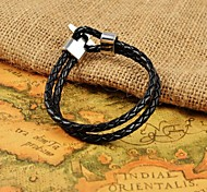 Fashion Men's Black Weave Leather Bracelets