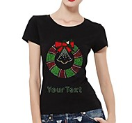 Personalized Rhinestone T-shirts Chirstmas Wreath Pattern Women's Cotton Short Sleeves