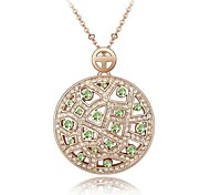 Lady Moon Lady's Short Necklace Plated with 18K Rose Gold Peridot Crystallized Austrian Crystal Rhinestone