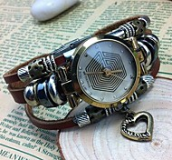 Women's Fashion High-grade Heart Pendant Leather Quartz Movement Bracelet Watches