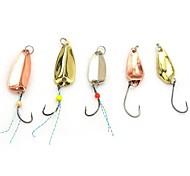 5 peças aleatórias cores metálicas pesca de trutas combater colher ferramenta gancho isca isca de pesca com colher de metal borla 2-4G