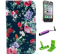 Black Rose Flower Pattern PU Leather Case with Screen Protector and Stylus for iPhone 4/4S