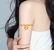 2Pcs Heart Jewelry Gold Glitter Tattoo Stickers Temporary Tattoos