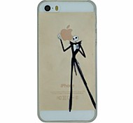 The Skeleton Gentleman Picking Apple Pattern PC Hard Transparent Back Cover Case for iPhone 5/5S