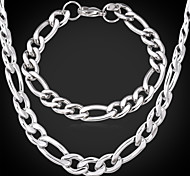 U7® Titanium Steel Chunky Figaro Chain Necklace Bracelet Set High Quality NEVER FADE 9MM 55CM
