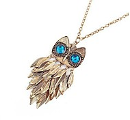 женская сусальное золото сова длинное ожерелье