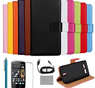 COCO FUN® Luxury Ultra Slim Solid Color Genuine Leather Case with Screen Protector,Cable and Stylus for HTC Desire 500