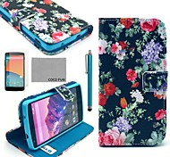 COCO FUN® Multicolor Flower Pattern PU Leather Case with Screen Protector, Stylus and Stand for LG Google Nexus 5