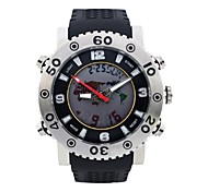 Men's Round Dial Sports Watch LED Display PU Strap Japanese Quartz Watch  Stopwatch Shockproof Waterproof Wrist Watch