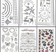 6 Pcs Jewelry and Flower Mixed Temporary Tattoo
