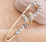 Korean Version Sweet Alloy Rhinestone Roses Pin Brooch