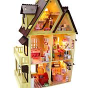 поделки миниатюрный деревянный шоколад кукольный домик вилла с Светодиодные игрушки