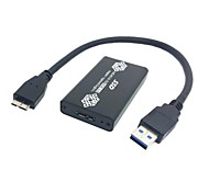 Black Color 50mm Mini PCI-E mSATA 6Gbps Solid State SSD to USB 3.0 hard Disk Case Enclosure