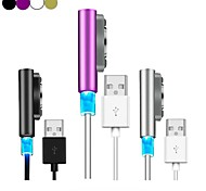 LED Indicator Aluminum Magnetic Charging Cable USB Charger Sony Xperia Z1 Z2 Z3(Assorted Color)