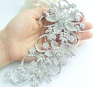 Women's Trendy Alloy Silver-tone Rhinestone Crystal Flower Bridal Brooch Pin