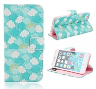 White Clouds Pattern PU Leather Protective Leather Case with Card Slot for iPhone 6