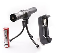 lt-0676 instelbare focus brandende aansteker snijden groene en rode laser pointer kits (2 MW, 532nm / 650nm, 1xcr18650)