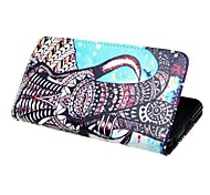 Elephant Desigh Wallet PU Leather Case with Stand and Card Slot for iPhone 5/5S