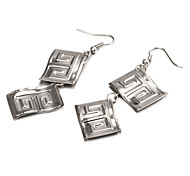 Fashion Concise Rectangle Silver Alloy Drop Earrings(1 Pair)
