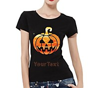 Personalized Rhinestone T-shirts Halloween Pumpkin Ghost Pattern Women's Cotton Short Sleeves