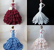 4 Pcs Barbie Doll Graceful Princess Deluxe Polyester Dress