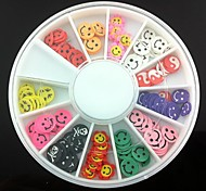 12 Kinds Fimo Slice Smiling Face Series Nail Art Decoration(Random Pattern)