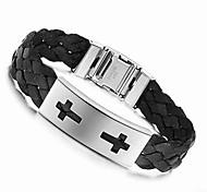 Cross 21.5cm Men Black Leather Stainless Steel Bracelet