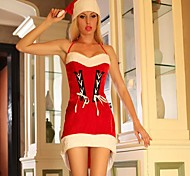 Sexy Dress with Shoulder Straps Red Adult Christmas Woman's Costume