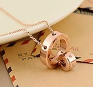moda rosa de titânio de aço colar de pingente de ouro diamonted